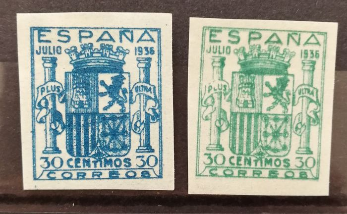 Espagne 1936 - Coat of arms of Spain, Granada issue. Unissued stamps. Complete imperforated set. - Edifil NE56/NE57