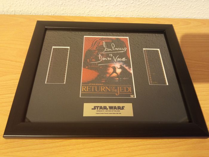 Dave Prowse COA Film Cells Darth Vader signed STAR WARS Return of The Jedi