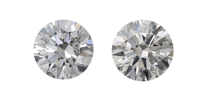 2 pcs Diamants - 0.60 ct - Rond - D (incolore), E - SI1