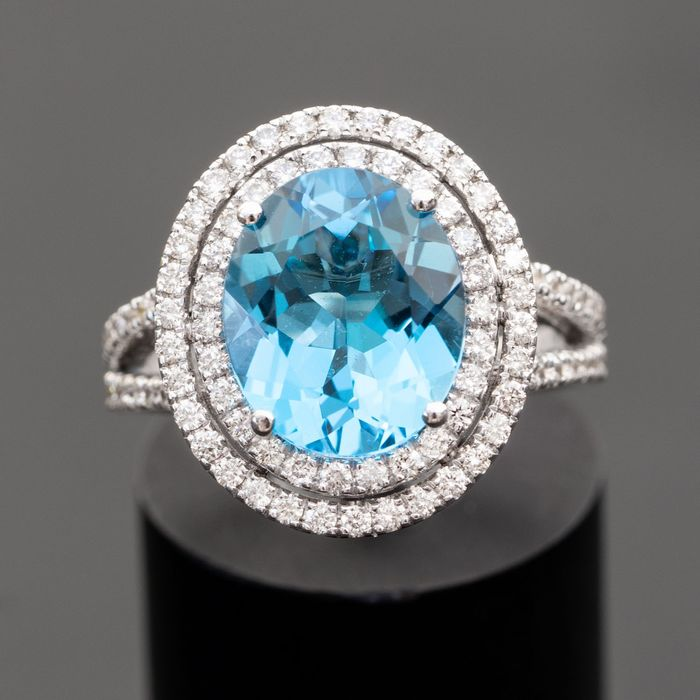 Natural Swiss Topaz Diamond Ring - 14 kt Weißgold - Ring - 5.22 ct Smaragd - 0,90 natürliche Diamanten D-F / VVS