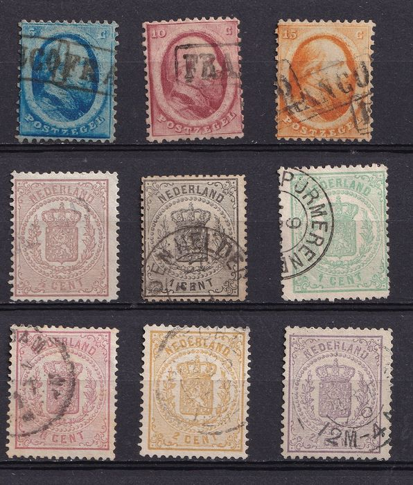 Pays-Bas 1864/1869 - King Willem III and National coat of arms - NVPH 4/6 + 13/18
