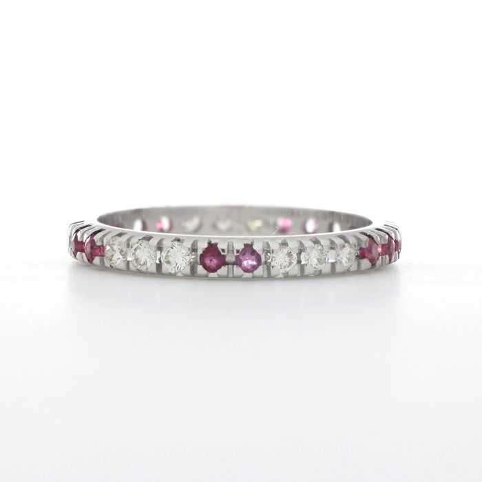 18 carats Or blanc - Bague - 0.30 ct Diamant - Rubis