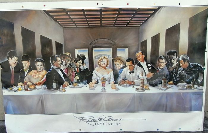 """Invitation"" - Last supper with Hollywood Legends - Artwork by legendary artist Renato Casaro - Poster, Large - 142x72 cm"