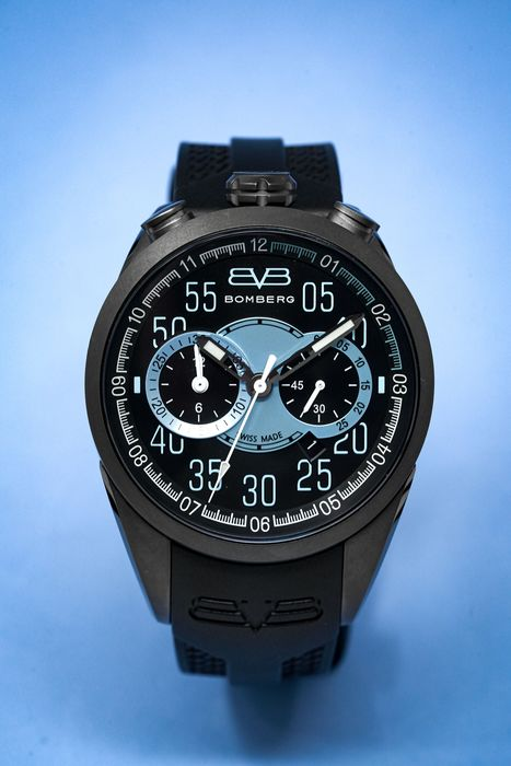"""Bomberg - 1968 Chronograph Collection Blue and black Silicone Strap """"NO RESERVE PRICE"""" - NS44CHPGM.0085.2 - Herren - New"""