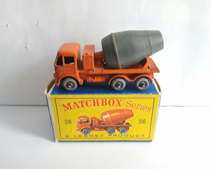 Matchbox - 1:64 - Lesney 26 cement mixer hard to find with grey barrel - HTF graues Laufmodell + D-Box
