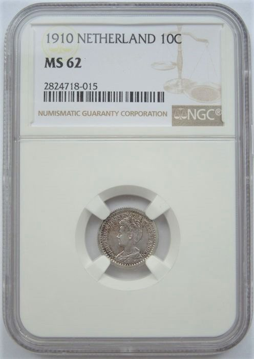 Netherlands. Wilhelmina. 10 Cents 1910 in slab NGC MS62