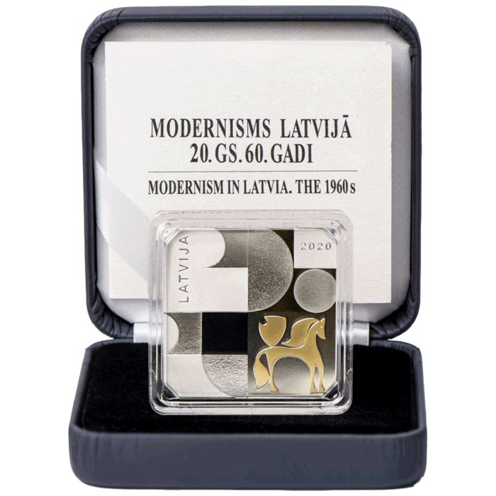 Latvia. 5 Euro 2020 Proof 'Modernisme in Letland - De Jaren Zestig' in cassette