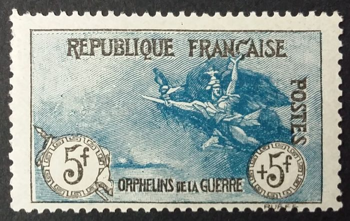 Frankreich 1917/18 - First orphans series, 5 francs + 5 francs, black and blue. - Yvert 155
