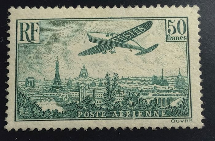 France 1936 - Airmail, YT PA 14 - 50 francs green, mint without hinge. - Yvert PA 14