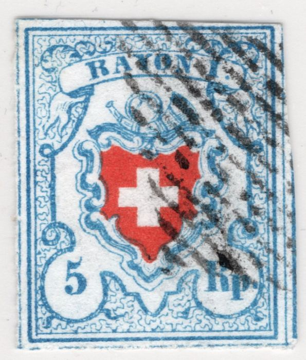 Zwitserland 1850 - RAYON I; with white margin on all sides; SBPV certificate - Zumstein Nr. 17I