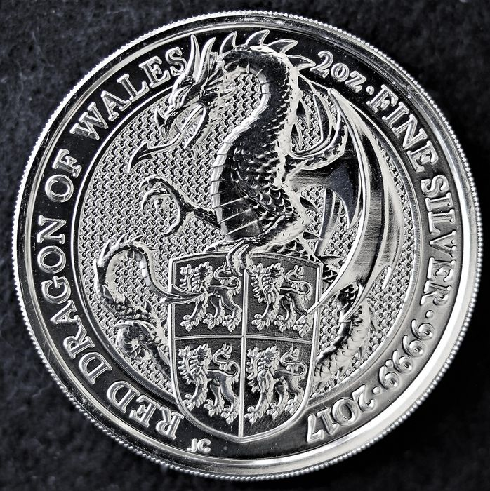 Royaume-Uni. 5 Pounds 2017 The Queen's Beasts The Red Dragon of Wales - 2 Oz