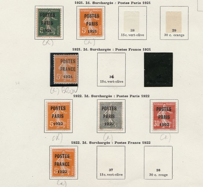 Francia 1921/1947 - A small set of pre-postmarked stamps with old and semi-modern ones. - Yvert