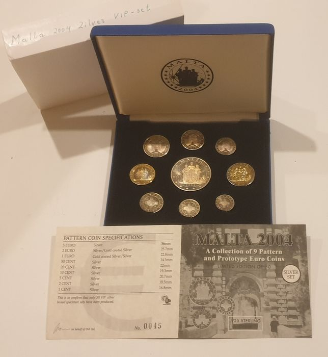 Malta. VIP Proof pattern set 2004 1 cent-2 euro+5 euro silver only mintage 50