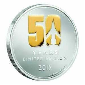 Niue. 2 Dollars 201550 Years Thunderbirds Limited Edition  Gilded 1 oz