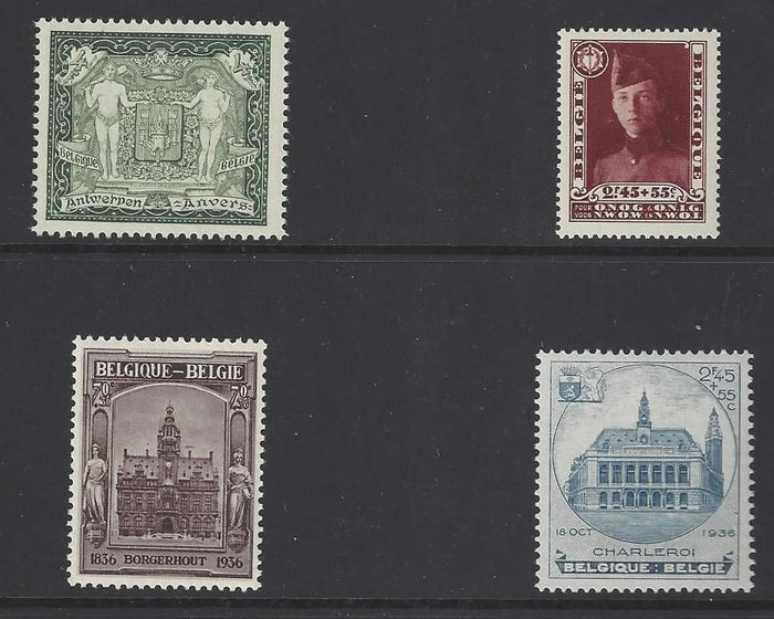 Belgium 1930/1936 - stamps from blocks 2,3,5 and 6 numbers 301-325-436-437 - OBP / COB