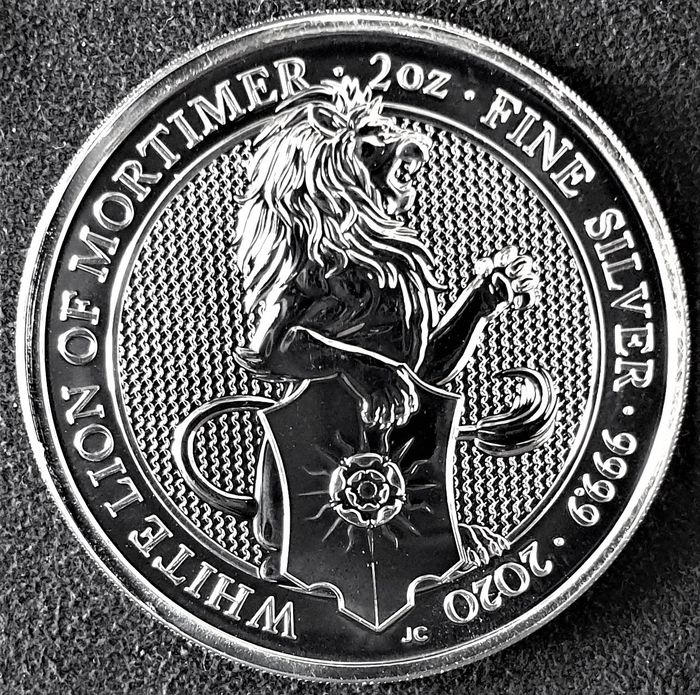 Royaume-Uni. 5 Pounds 2020 The Queen's Beasts The White Lion of Mortimer - 2 Oz