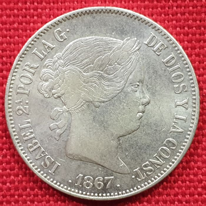 Spain. Isabel II. 2 Escudos 1867 Madrid