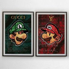 Josh Mahaby - Luigi Ever Green by Gucci + Super Fashio Mario (LOT 2 PRINTS)