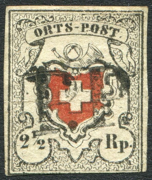 Zwitserland 1850/1878 - Lot of 3 certificates: 2 1/2 black and red / 5 rp blue and red / 2c brown red. - Yvert 17 + 20 + 42A