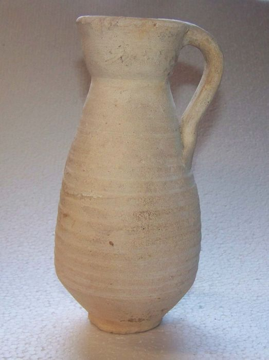 Ancient Roman Earthenware Pottery Jug with ear - 19.×0×9.5 cm - (1)