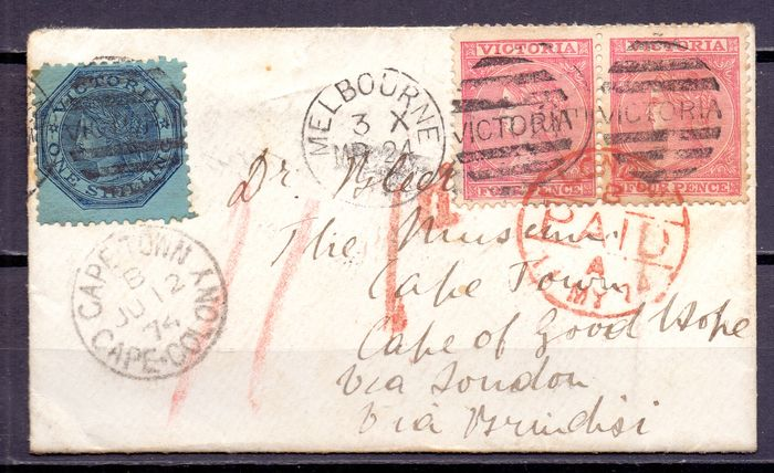 Australië - letter from Melbourne  - 1874  to Cape Town South Africa  with very fresh readable cancels