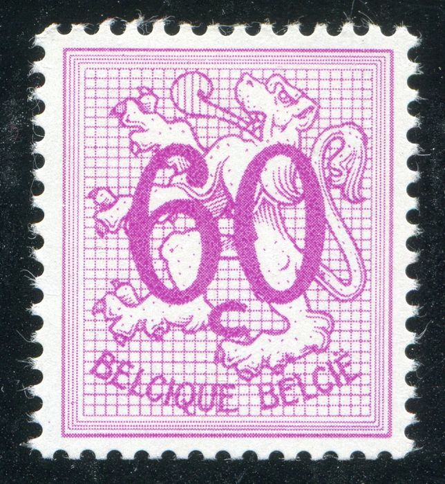 Belgium 1965 - Heraldic lion, 60 cts white paper, pale lilac, with BLP certificate - OBP / COB 1370P2a