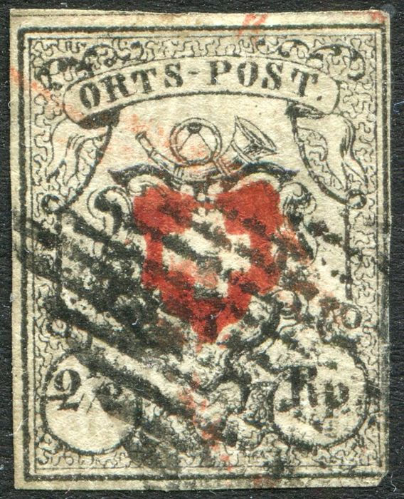Schweiz 1850 - 2 1/2 rp. black and red with certificate. - Yvert 13