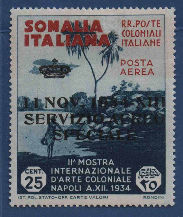 Somalie italienne 1934 - special air service 25c overprinted - edition of 1500 pieces - Sassone 2
