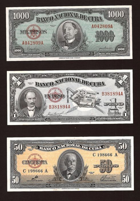 Cuba - 1, 50 and 1000 Pesos - Various dates - Pick 81c, 84a and 86a