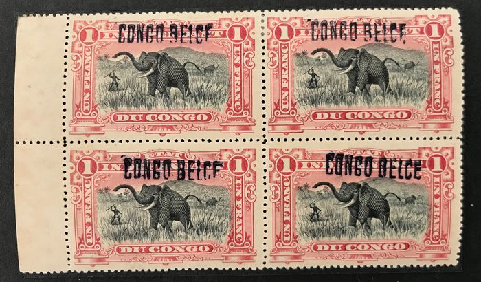 Belgisch-Kongo 1909 - Issue Mols 1fr - 2 fr with overprint 'LOKAAL / LOCAL' Type 2 - Seven stamps in blocks - OBP / COB L2