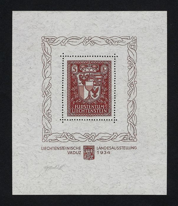 Liechtenstein 1934 - Vaduz philatelic exhibition sheet - Michel Bf .1
