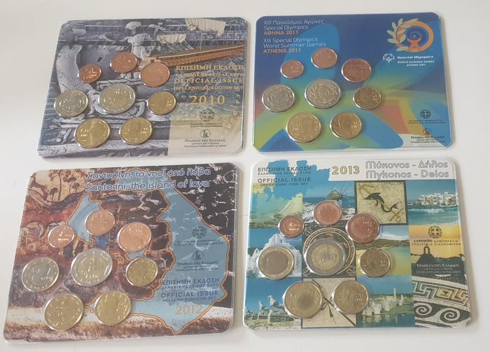 Greece. Bu 2010-2011-2012-2013 1 cent tm 2 euro(stier) blisters,Totaal 4 sets