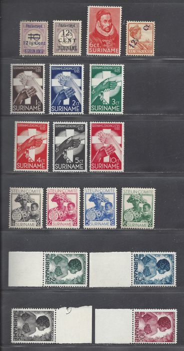 Surinam 1926/1936 - Various complete issues - NVPH 115, 116/117, 146/156, 179/182,