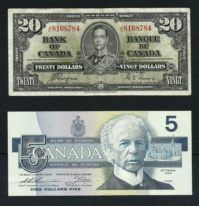 Canada - 20 and 5 Dollars 1937/1986