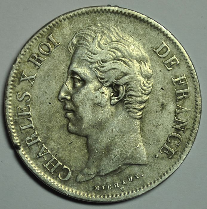 France. Charles X (1824-1830). 5 Francs 1827-W, Lille