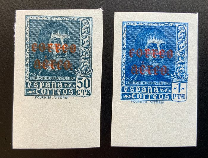 Spanien 1938 - Ferdinand, airmail, imperforated - Edifil 845s/846s