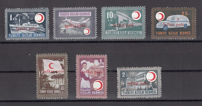 "Turkije 1949 - Pro war invalids overprinted in red ""Sefkat pulu"" - Michel 156/163"
