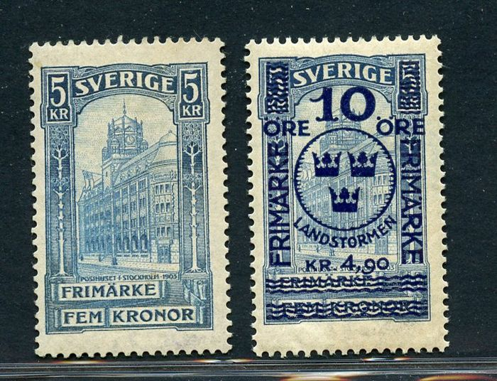 Schweden 1903/1916 - Post office building and overprinted in blue - CIF NN. 54 - 86
