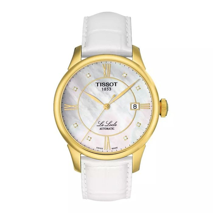 Tissot - T-Classic Le Locle Diamond Mother of Pearl Dial White Leather Strap - T41545386 - Damen - Brand New