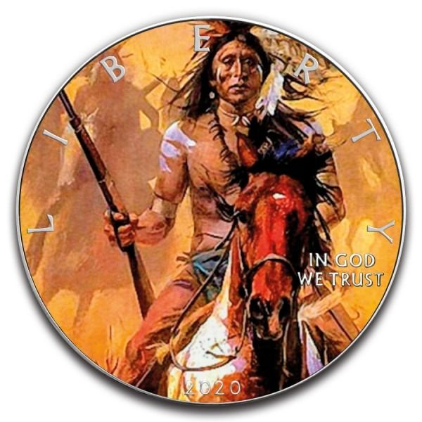 États-Unis. 1 Dollar 2020 Silver Eagle Native American Rifleman Colorized - 1 oz