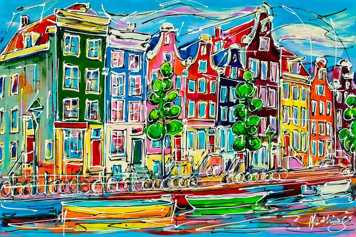 Mathias (1975) - Canal of Amsterdam, colored houses