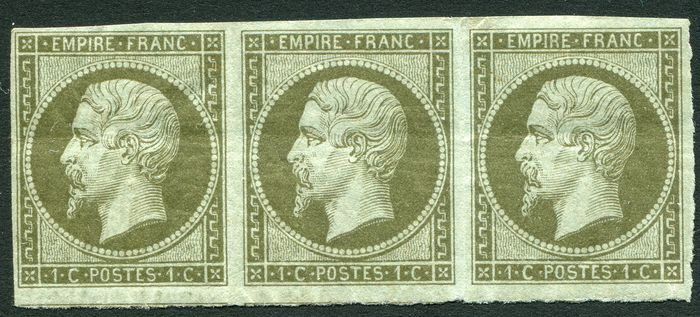 Frankreich 1860 - Napoleon III empire franc 1c olive band of three imperforate - Yvert N. 11