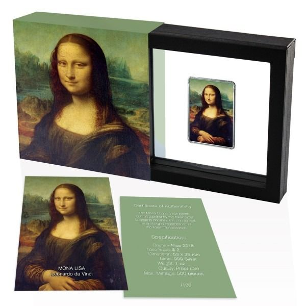 Niue. 2 Dollars 2018 Mona Lisa Painting bar/coin - 1 oz