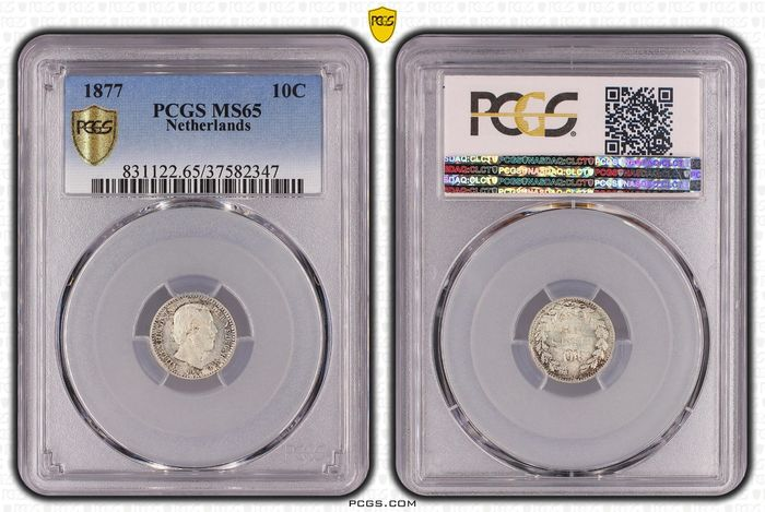 Netherlands. Willem III (1849-1890). 10 Cents 1877 PCGS MS65