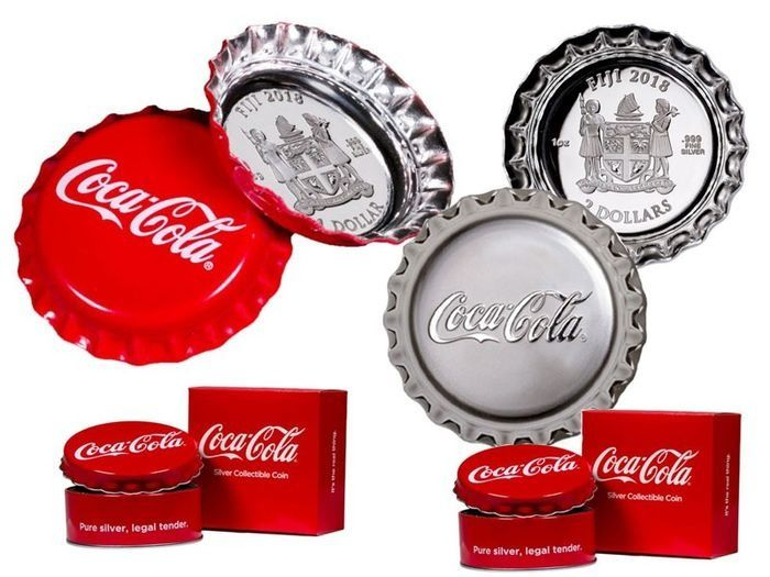 Fiji. 1 Dollar & 2 Dollars. 2018 Coca Cola Bottle Cap set (6 g & 1 oz)