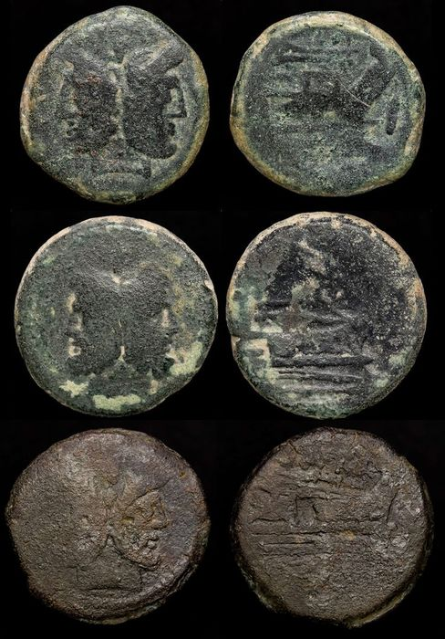 Roman Republic. Lot comprising three Æ Asses (25.30 g/28.34 g/ 21.05 g),  Rome after 212-195 BC - Janus / Prow of galley