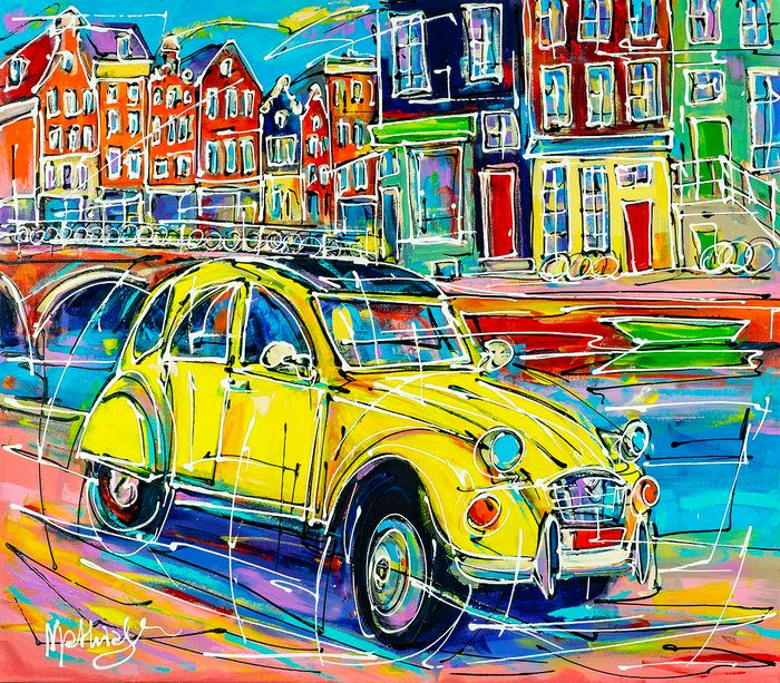 Mathias (1975) - Canal of Amsterdam, yellow Citroen