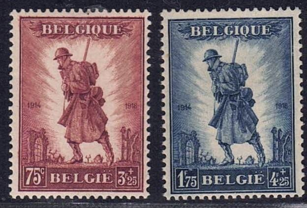 Belgium - Infantry with beautiful centring - OBP / COB 351/352