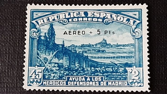 Spain 1938 - Siege of Madrid. Overprinted, issue of only 5,000 stamps. - Edifil 759