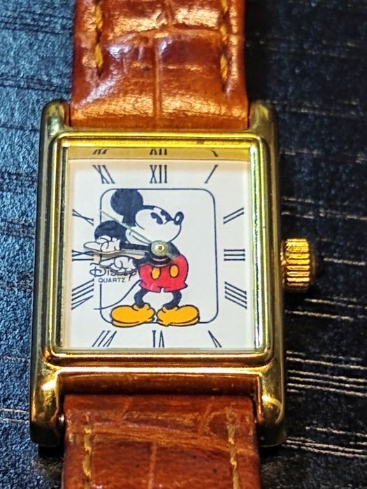 Mickey Mouse - Walt Disney Mickey Mouse Rectangle Gold Bezel Wristwatch - (1985)